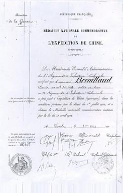 Diplôme de la Médaille de Denis Brouillaud.