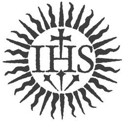 Logo de la confrérie des Jésuites. Les troix lettres I H S correspondent aux initiales de Iesus Hominum Salvator qui signifie Jésus, Sauveur des Hommes