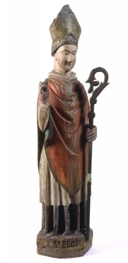 Statue de saint Eloi, sculpture en bois du XVIème siècle ; collégiale de Saint Junien, Haute-Vienne, Limousin, photographie de Philippe Rivière