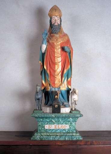 Statue saint Eloi ; église paroissiale Saint-Pierre-aux-Liens ; Baye, Finistère, Bretagne. Photographie de Xavier Scheinkmann