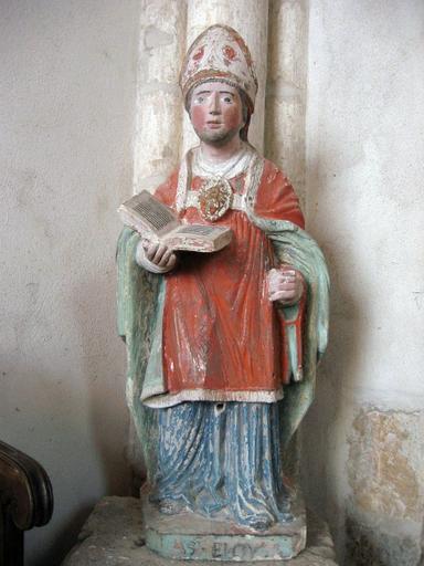 Statue saint Eloi ; église, Bragelogne-Beauvoir, Aube, Champagne-Ardenne. Photographie de Bruno Decroc