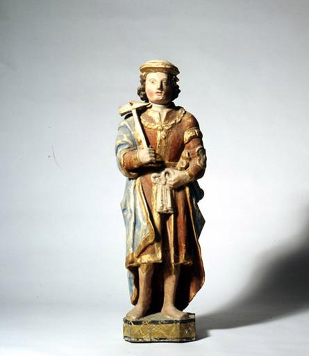 Statue de saint Eloi ; chapelle Sainte Barbe ; La salle-les-Alpes ; Hautes-Alpes ; Provence-Alpes-Côte-d'Azur . Photographie de Marc Heller et Gérard Roucaute