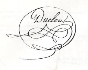 Signature de Gabriel Duclou du Theillol<br /> (50 ans de vie locale 1780- 1830, page 137)