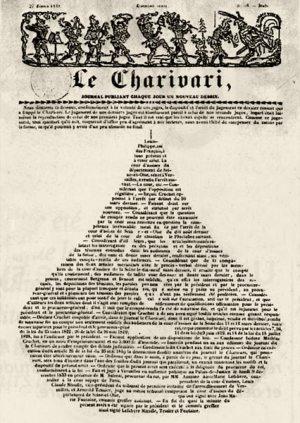 Le Charivari, couverture du 27 février 1834<br /> Texte formant une poire qui condamne, au nom du Roi, le Charivari, pour représentation irrévérencieuse de Louis-Philippe déjà en forme de poire.<br />