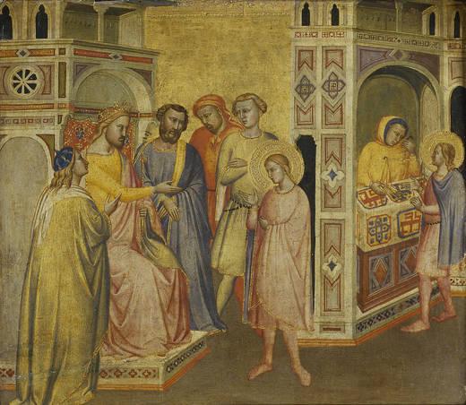 Saint Eloi devant le roi Clotaire, 1365, (San Eloy ante el rey Clotario) Tableau de Taddeo Gaddi, Musée du Prado, Madrid