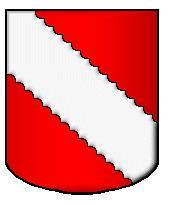 Armes de Marin de Montchenu<br /> De gueules à la bande engrêlée d'argent