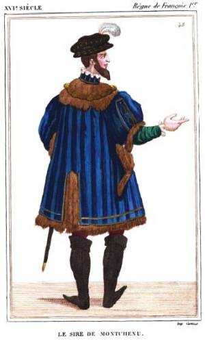 """Figure représentant Marin de Montchenu<br /> Costumes historiques de la France, tome IV.<br /> """"Figure extraite d'une miniature qui représente François Ier entouré de sa cour (Gaignières, portef. VIII, 5 et 8).""""<br /> """"La partie principale de ce costume est un surtout bleu-outre-mer, frangé de fourrure rouge-brun, et orné d'un collet de fourrure de même couleur.<br /> Le vêtement de dessous est vert ; les bottes<br /> sont noires, ainsi que la toque."""""""