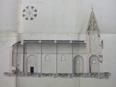 Plan de l'église de Nantiat, ADHV